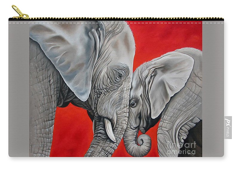 Elephant Carry-all Pouch featuring the painting Mothers Love by Ilse Kleyn