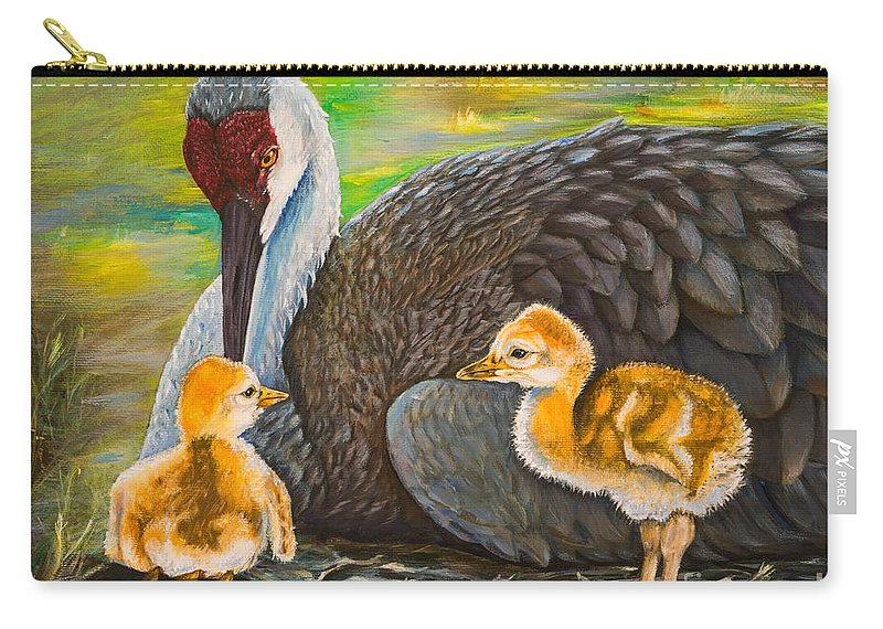 Sandhill Crane Carry-all Pouch featuring the painting Mother's Love by Zina Stromberg
