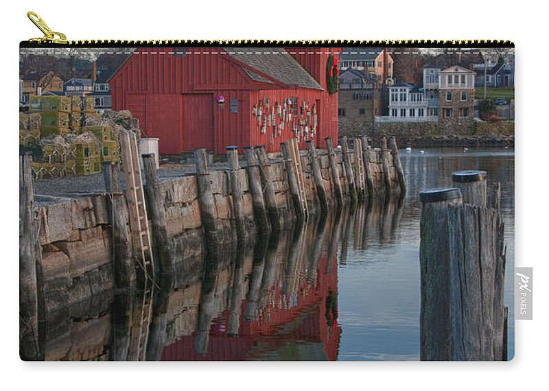 Motif Number One Rockport Lobster Shack By Jeff Folger Carry-all Pouch featuring the photograph Motif Reflections by Jeff Folger