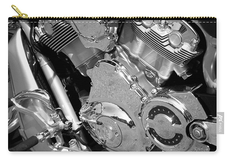 Motorcycles Carry-all Pouch featuring the photograph Motorcycle Close-up Bw 2 by Anita Burgermeister