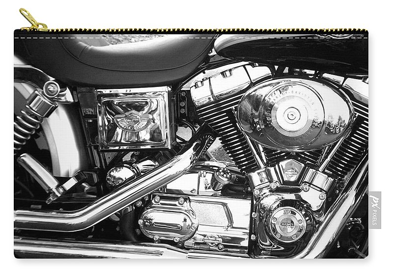 Motorcycles Carry-all Pouch featuring the photograph Motorcycle Close-up Bw 3 by Anita Burgermeister