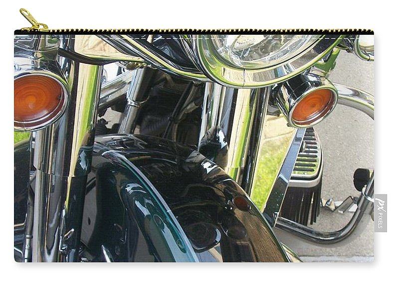 Motorcycles Carry-all Pouch featuring the photograph Motorcyle Classic Headlight by Anita Burgermeister