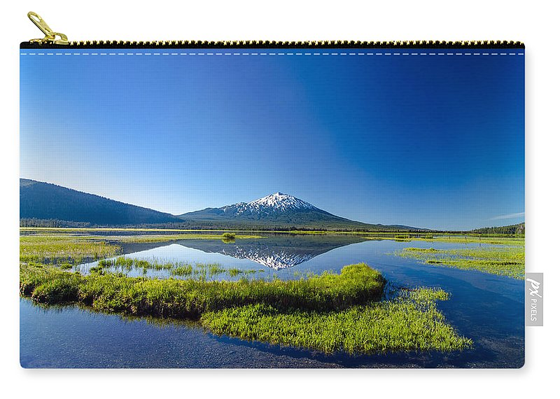 Mountain Carry-all Pouch featuring the photograph Mount Bachelor And Sparks Lake by Jess Kraft