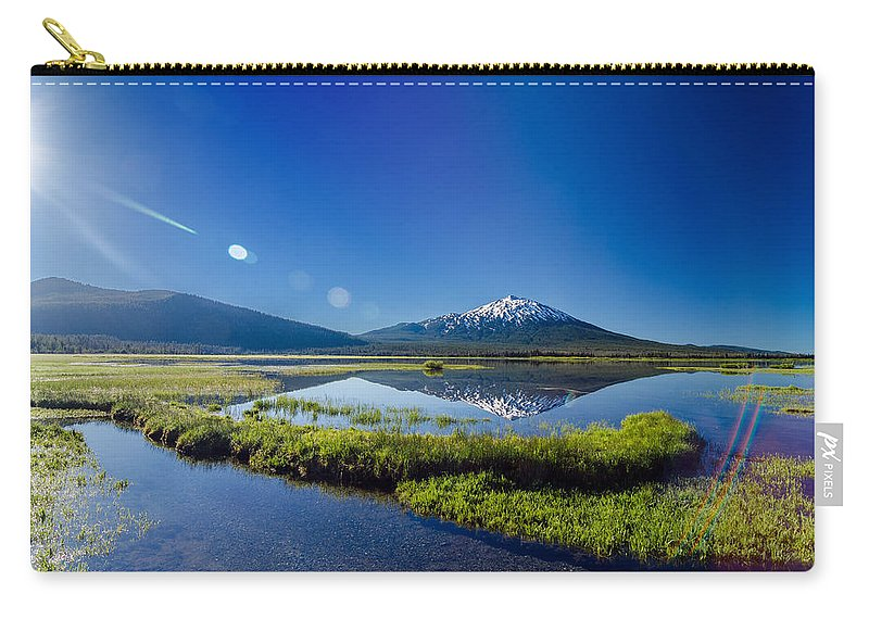 Mountain Carry-all Pouch featuring the photograph Mount Bachelor Lens Flare by Jess Kraft