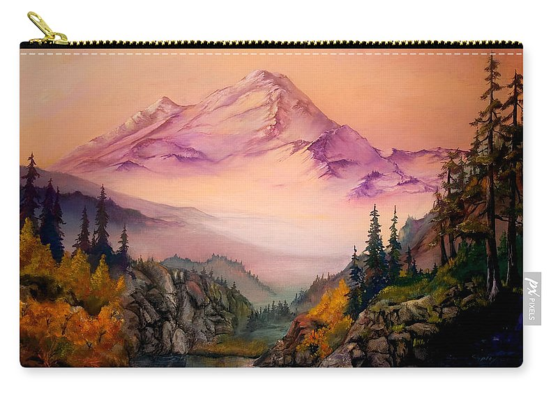 Mountains Carry-all Pouch featuring the painting Mount Baker Morning by Sherry Shipley