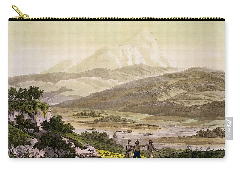 Giulio Carry-all Pouch featuring the drawing Mount Cayambe, Ecuador, From Le Costume by Friedrich Alexander, Baron von Humboldt