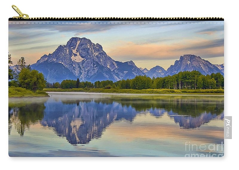 Oxbow Bend Carry-all Pouch featuring the photograph Mount Moran At Sunrise by Teresa Zieba