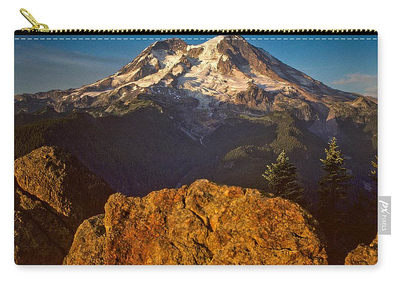 Awe Carry-all Pouch featuring the photograph Mount Rainier At Sunset With Big Boulders In Foreground by Jeff Goulden