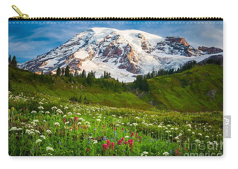 America Carry-all Pouch featuring the photograph Mount Rainier Flower Meadow by Inge Johnsson