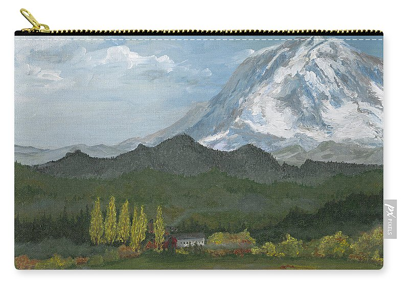 Landscape Carry-all Pouch featuring the painting Mount Rainier From Lake Rap John by Carlene Salazar