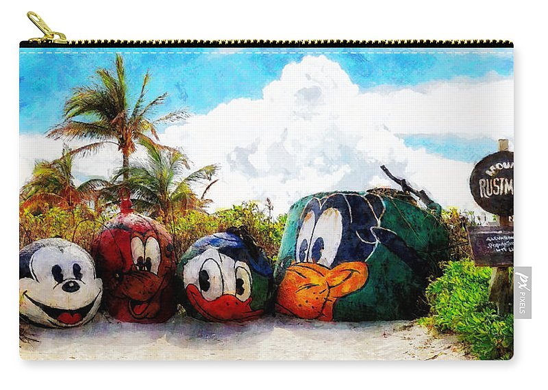 Disney Carry-all Pouch featuring the painting Mount Rustmore Castaway Cay by Sandy MacGowan