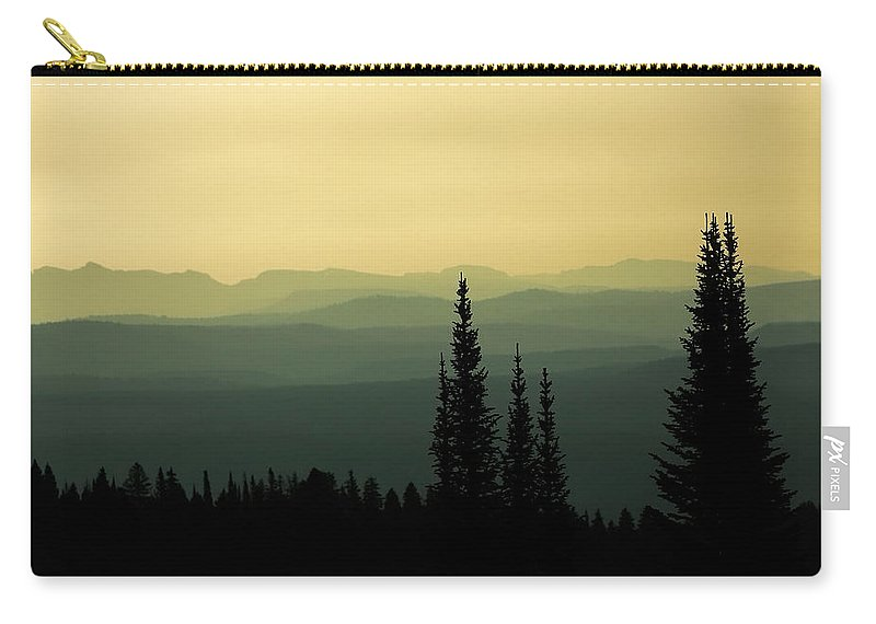 Yellowstone Carry-all Pouch featuring the photograph Mount Washburn Mist by Todd Klassy