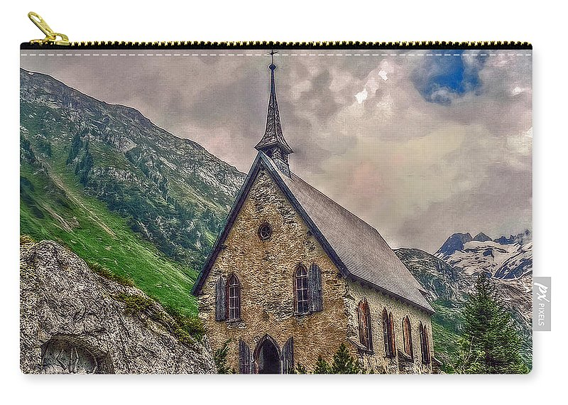 Switzerland Carry-all Pouch featuring the photograph Mountain Chapel by Hanny Heim