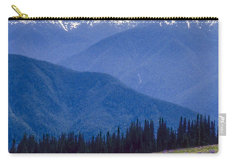 Olympic National Park Washington Parks Tree Trees Forest Forests Nature Landscape Landscapes Mountain Mountains Peak Peaks Snow Flower Flowers Wildflower Wildflowers Carry-all Pouch featuring the photograph Mountain Color And Snow by Bob Phillips