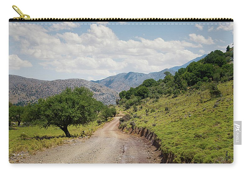 Tranquility Carry-all Pouch featuring the photograph Mountain Dirt Road In Northern Crete by Ed Freeman