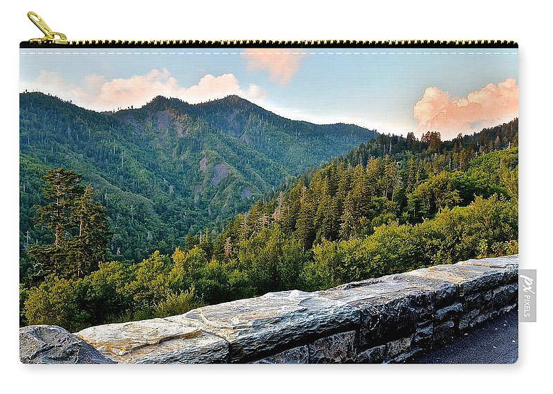 Smoky Carry-all Pouch featuring the photograph Mountain Overlook by Frozen in Time Fine Art Photography