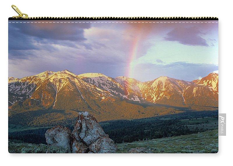 Rainbow Carry-all Pouch featuring the photograph Mountain Rainbow by Leland D Howard