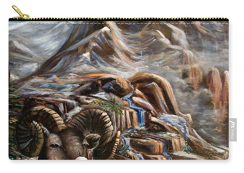 Mountains Carry-all Pouch featuring the painting Mountain Ram by Sue Stake