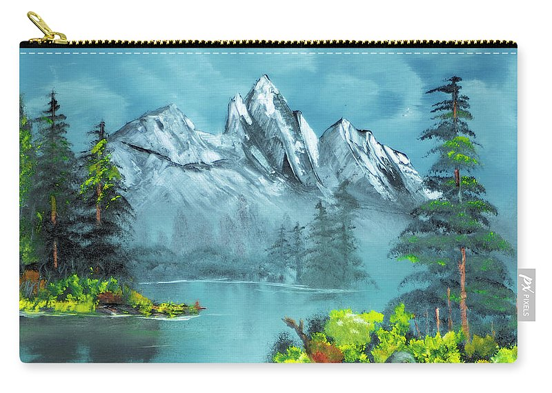 Mountain Lake Pond Meadow Tree Flower Evergreen Reflection Carry-all Pouch featuring the painting Mountain Retreat by Michael Daniels
