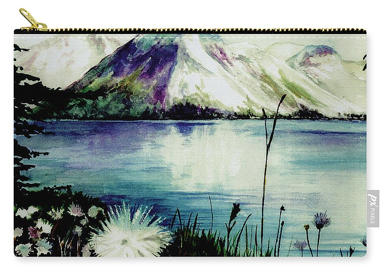 Landscape Carry-all Pouch featuring the painting Mountain Serenity by Brenda Owen