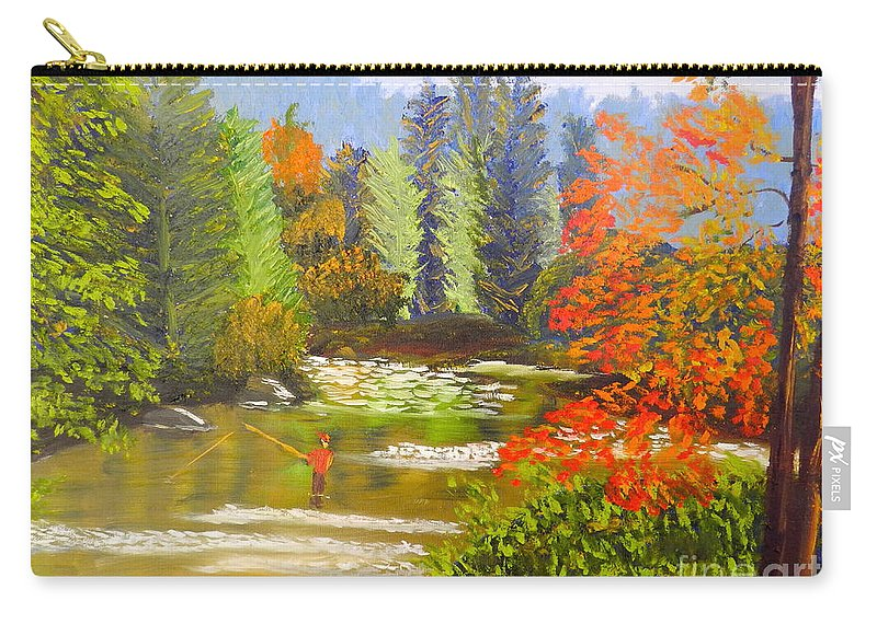 Nature Carry-all Pouch featuring the painting Mountain Stream by Pamela Meredith
