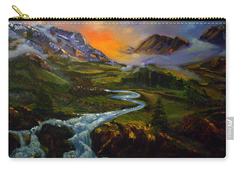 Mountains Carry-all Pouch featuring the painting Mountain Streams by Sue Stake