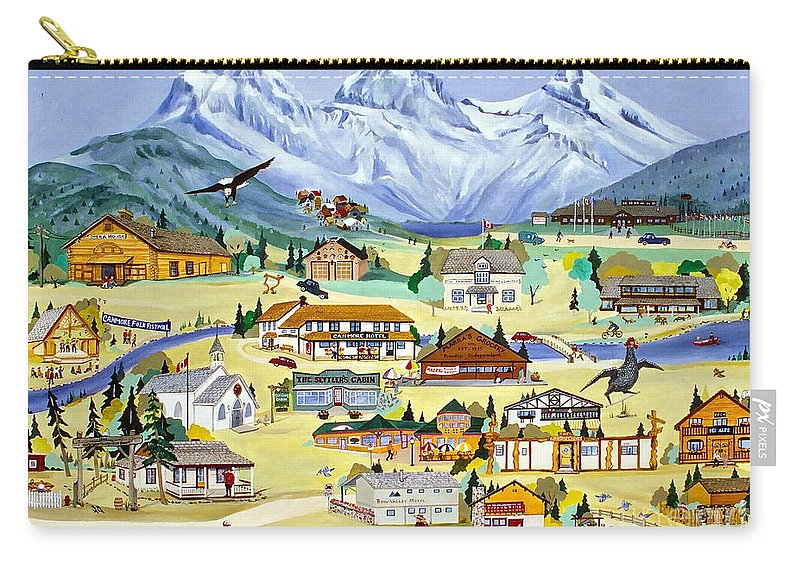 Canmore Carry-all Pouch featuring the painting Mountain Town Of Canmore by Virginia Ann Hemingson
