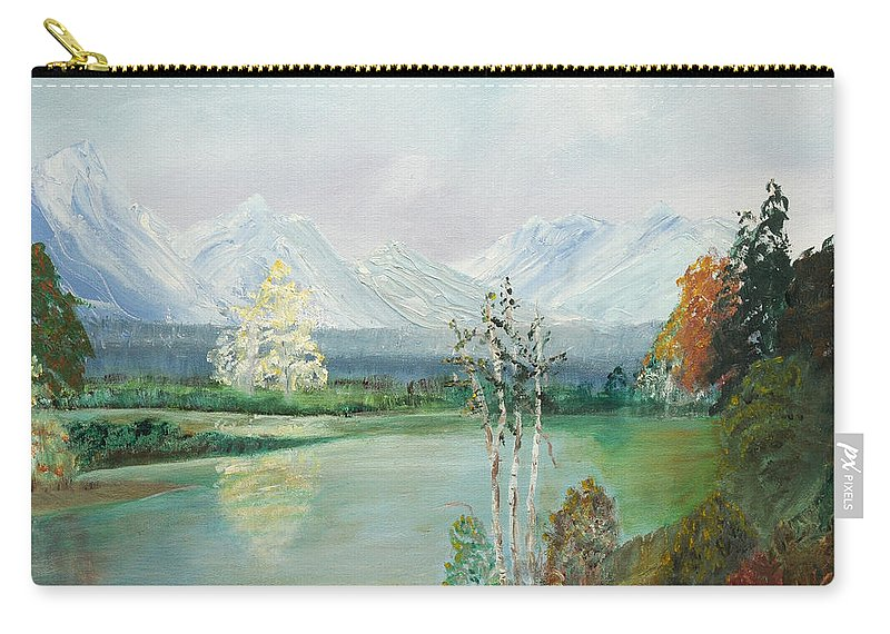 Landscape Carry-all Pouch featuring the painting Mountain View by Joanne Smith