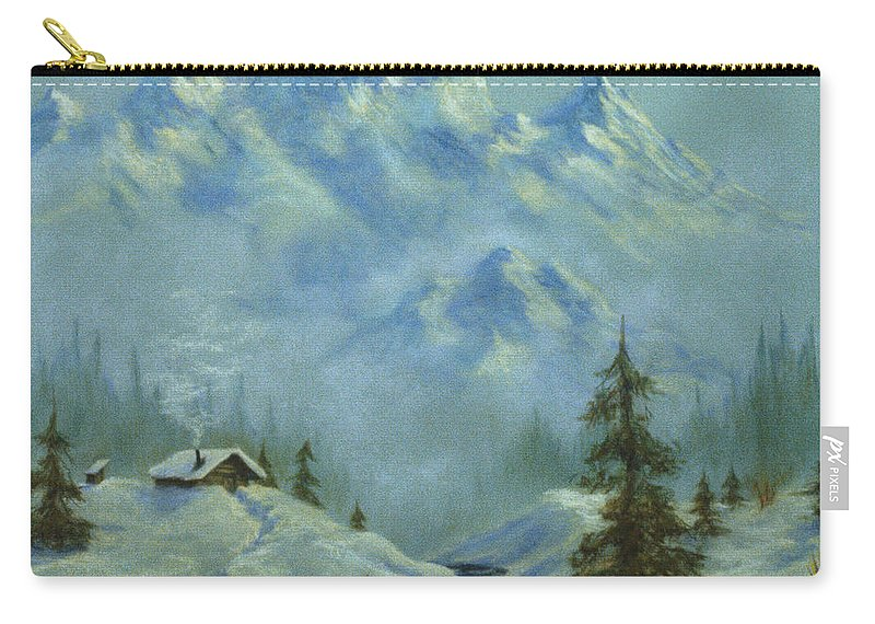 Mountain View With Creek Carry-all Pouch featuring the pastel Mountain View With Creek by Teresa Ascone
