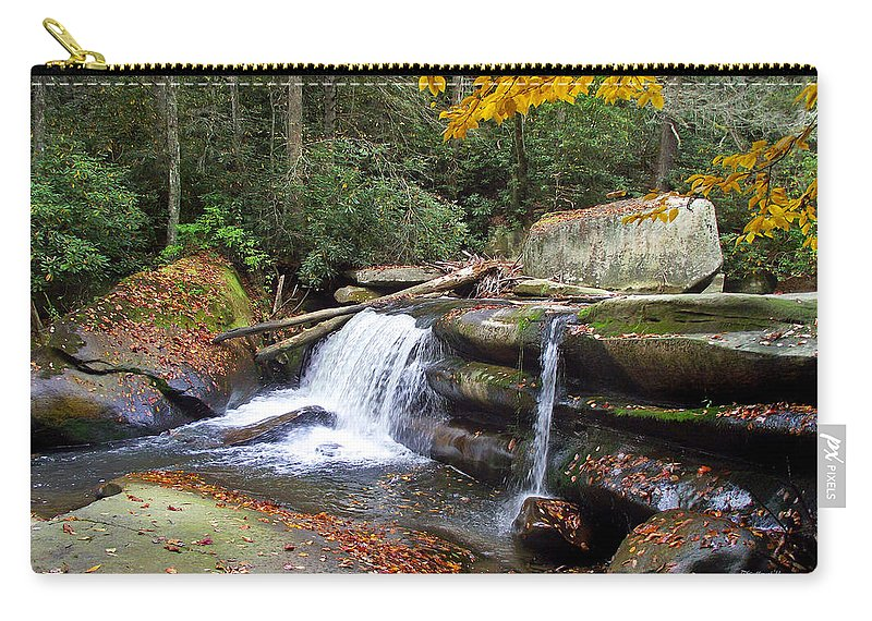 Waterfall Carry-all Pouch featuring the photograph Mountain Waterfall by Duane McCullough