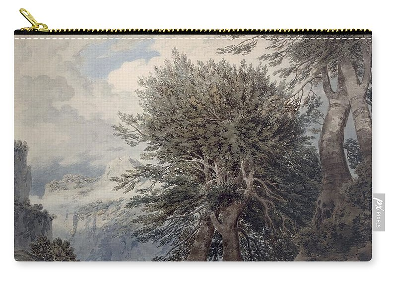 Mountain Carry-all Pouch featuring the drawing Mountainous Landscape With Beech Trees by John Robert Cozens