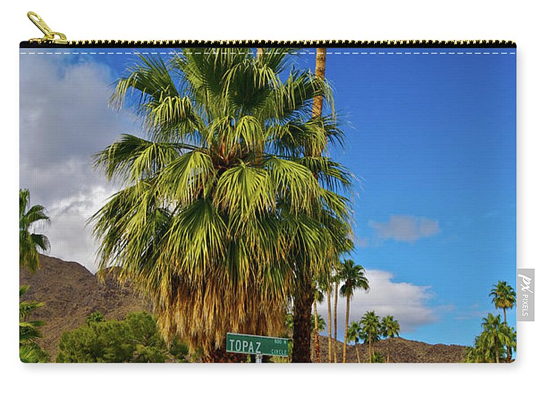Fan Palm Tree Carry-all Pouch featuring the photograph Mountains, Plants & Mid-century Home In by Jaylazarin