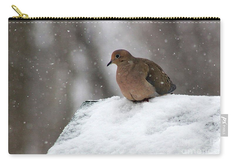 Mourning Dove Carry-all Pouch featuring the photograph Mourning Dove In Snow by Karen Adams