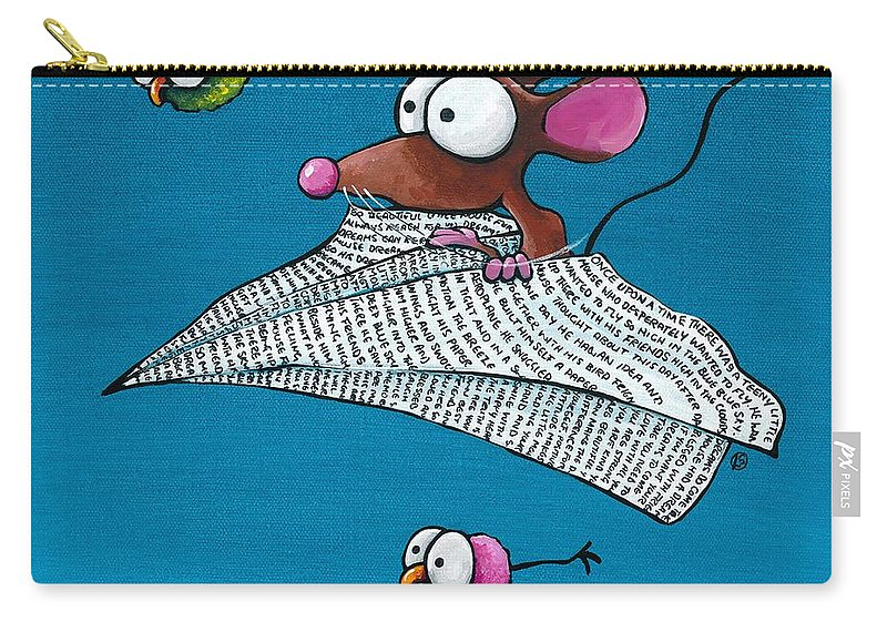 Mouse Carry-all Pouch featuring the painting Mouse In His Paper Aeroplane by Lucia Stewart