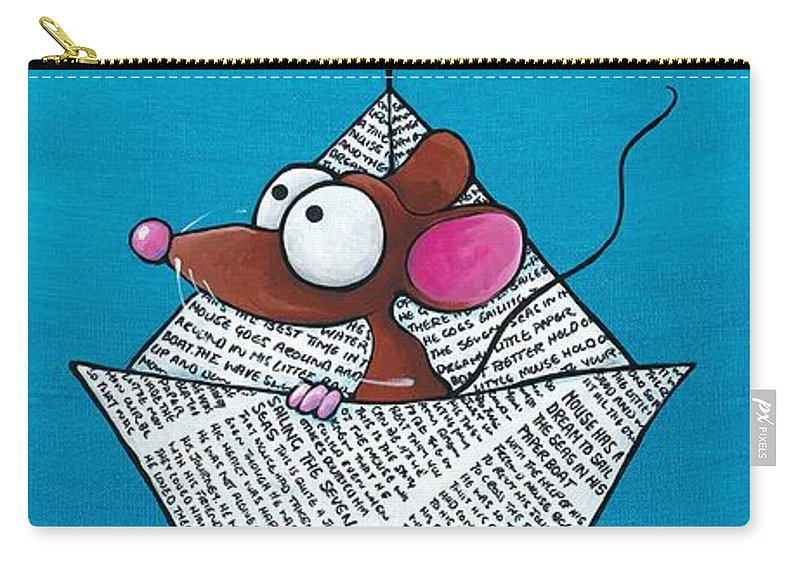 Mouse Carry-all Pouch featuring the painting Mouse In His Paper Boat by Lucia Stewart