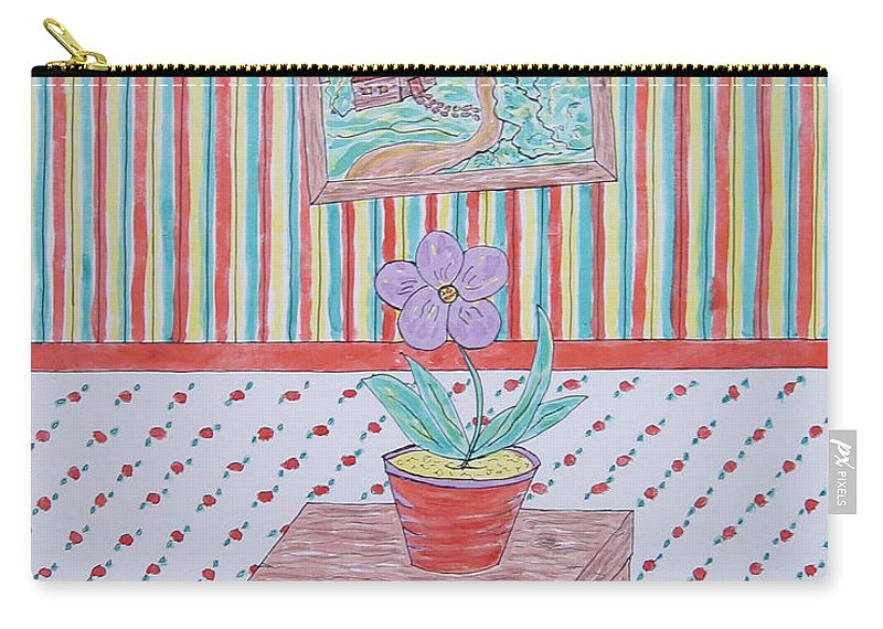 Floral Carry-all Pouch featuring the painting Mouse In The House by Barb Meade