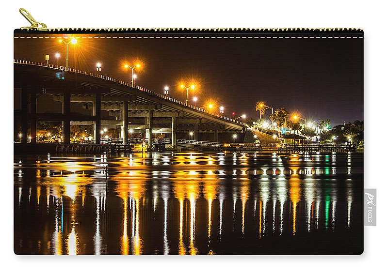 Nighttime Carry-all Pouch featuring the photograph Moving Reflection by Tyson Kinnison