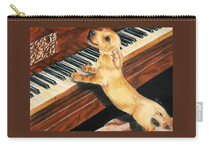 Purebred Dog Carry-all Pouch featuring the drawing Mozart's Apprentice by Barbara Keith