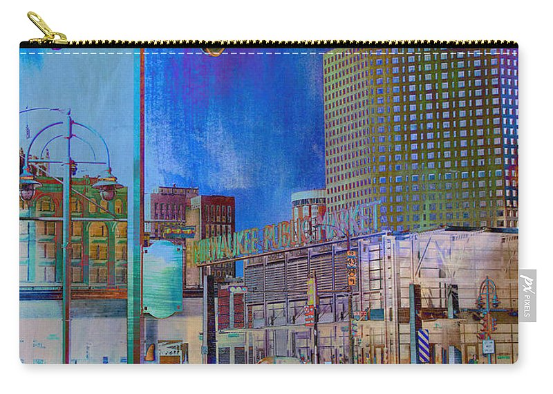 Milwaukee Carry-all Pouch featuring the digital art Mpm And Lamp Post Vivid Abstract by Anita Burgermeister