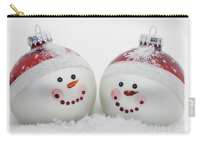 Celebrate Carry-all Pouch featuring the photograph Mr. And Mrs. Snowman by Linda D Lester