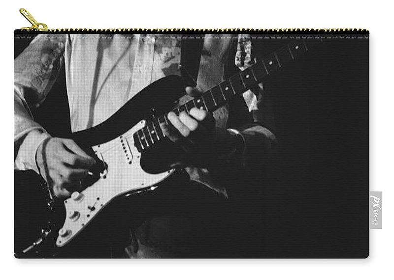 Mick Ralphs Carry-all Pouch featuring the photograph Mick On The Rock And Roll Guitar by Ben Upham