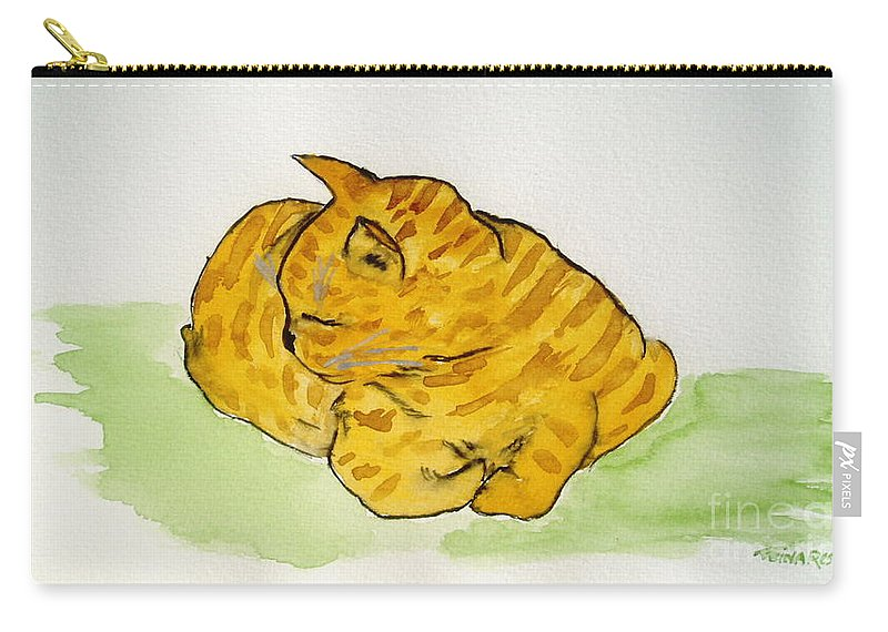 Cat Painting Carry-all Pouch featuring the painting Mr. Yellow by Reina Resto