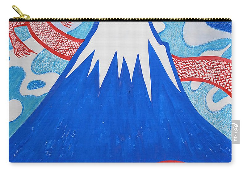 Dragon Carry-all Pouch featuring the painting Mt. Fuji And A Red Dragon by Taikan Nishimoto