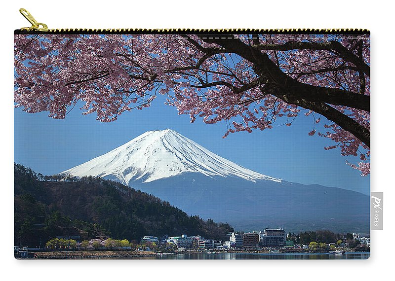 Snow Carry-all Pouch featuring the photograph Mt Fuji And Cherry Blossom by Mantaphoto
