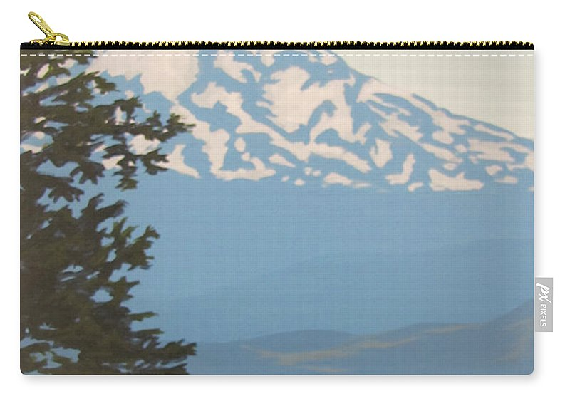 Mt. Hood Carry-all Pouch featuring the painting Mt Hood by Karen Ilari