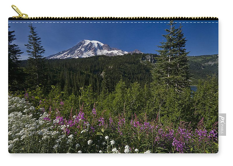 3scape Carry-all Pouch featuring the photograph Mt. Rainier by Adam Romanowicz