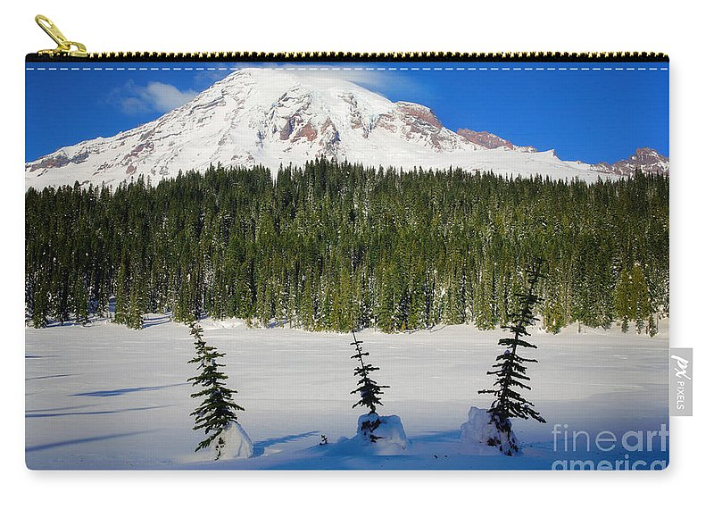 America Carry-all Pouch featuring the photograph Mt Rainier And Three Trees by Inge Johnsson