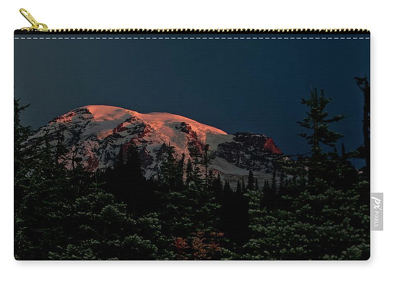 Mt Rainier Carry-all Pouch featuring the photograph Mt Rainier At Dawn by Albert Seger