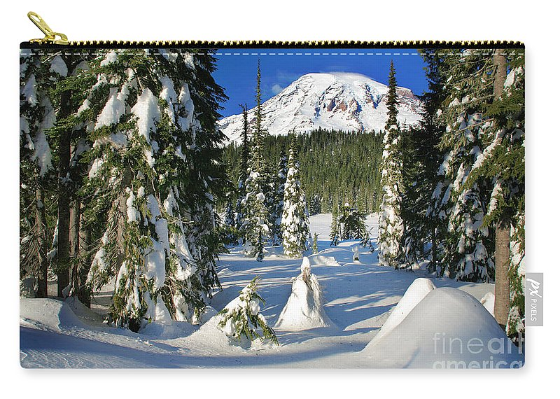America Carry-all Pouch featuring the photograph Mt Rainier At Reflection Lakes In Winter by Inge Johnsson