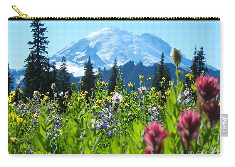 Mt. Rainier Carry-all Pouch featuring the photograph Mt. Rainier Wildflowers by Jim And Emily Bush